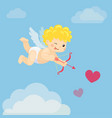 flying cupid with bow and arrow in blue sky vector image vector image