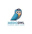 fun medical owl logo mascot on white background vector image