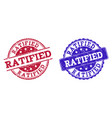grunge scratched ratified stamp seals vector image