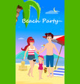 happy family at beach party day time banner flyer vector image vector image