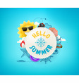 hello summer banner with frame beach stuff and vector image vector image