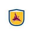 Heron Crane Flying Side View Shield Retro vector image vector image