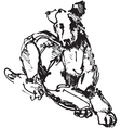 ink sketch of dog playing young terrier vector image vector image