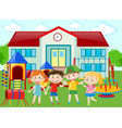 kindergarten students at the playground vector image vector image