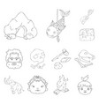 life in the stone age outline icons in set vector image vector image