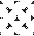 man in balaclava pattern seamless black vector image vector image