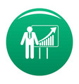 man with diagram icon green vector image