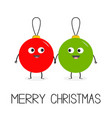 merry christmas ball toy icon set love couple vector image vector image
