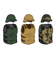 Military clothing protection vests camouflage body vector image vector image