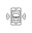 mobile electronic store line icon concept mobile vector image vector image