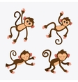 Monkey set cartoon animal design vector image