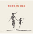 mother and child running silhouette drawn vector image vector image