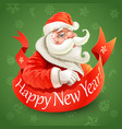 new year card with santa claus on green background vector image