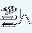 Pair skis and wooden sled vector image vector image