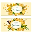 Pasta with basil banner for italian cuisine design vector image vector image