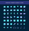 photo video flat style design icon set vol1 vector image vector image