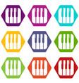 piano keys icons set 9 vector image vector image