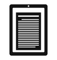 reader tablet icon simple style vector image vector image