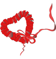Red heart from ribbon isolated on white background vector image vector image