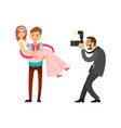 romantic couple married groom and bride on wedding vector image