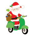 Santa on Scooter vector image vector image
