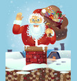 santa on the roof with a bag of gifts christmas vector image