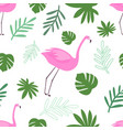 seamless pattern flamingo with leaves vector image