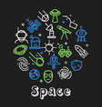 space outline icons cosmos and cosmic objects vector image vector image