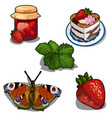 strawberry jam berry cake and butterfly vector image