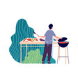 summer bbq man fried meat on nature summertime vector image vector image