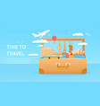 travelling concept with giant suitcase vector image vector image