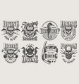 vintage monochrome diving logos set vector image vector image