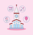 wedding celebration card with church building vector image vector image