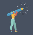 woman with a giant pencil on her shoulder vector image vector image