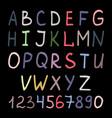 colorful handwritten alphabet on black vector image
