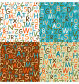 set of seamless patterns of hand drawn letters vector image