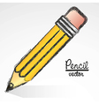 cartoon pencil with a outlined grunge isolated on vector image