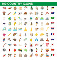 100 country icons set cartoon style vector image vector image