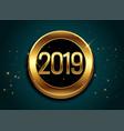 2019 golden shiny label design background vector image vector image