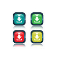 a red download button on white background vector image