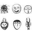 african mask set sketch doodle graphic art vector image vector image