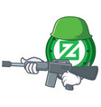 army zcoin character cartoon style vector image vector image