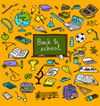 back to school hand drawn colored objects sketch vector image vector image