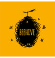 beehive with bees sketch art for your design vector image vector image