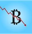 bitcoin drop graph sign with arrow down vector image