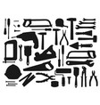 black silhouettes tools and equipment vector image