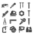 carpentry industry equipment icons flat set vector image