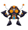 cartoon angry robot with antennas and orange eyes vector image