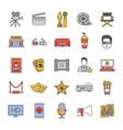 cinema color icons set vector image vector image