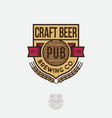 craft beer logo emblem heraldic shield vector image